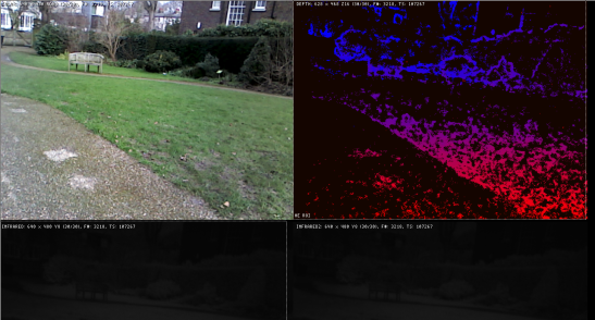 Running the RealSense R200 camera outdoors with IR auto exposure turned off.